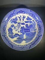 "Vintage Blue Willow Large 9 1/2"" Round Serving Bowl Cobalt Antique Japan"
