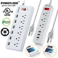 3/6 Port Outlet Power Strip 3/6 Smart USB Charging Ports Surge Protector Travel