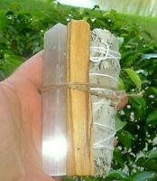 White Selenite Stick Palo Santo White Sage Smudge Kit Chakra Wicca Crystal Reiki