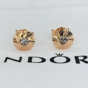 New Pandora Multicolor Heart Fan Stud Earrings