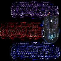 USB 5500DPI Crack Pattern Backlight Wired Mouse keyboard set  Multimedia Mice