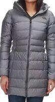 The North Face Womens Gotham Parka II Down Jacket Gray Puffer Hooded Medium 2272