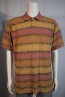 Van Heusen Men's LARGE Mauve Tan Stripe SS Golf Polo Shirt
