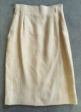 VINTAGE ESCADA WOMENS  Yellow~Ivory Check Below Knee Length Skirt  Sz 36~6 NWOT