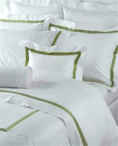 $848 Matouk Lowell Percale TWIN Duvet Cover 2pc Set Flat Sheet Nile Olive Green