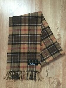 Mens Barbour  100% Lambswool Checked Brown Scarf