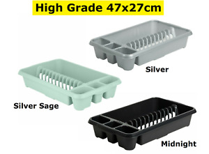 Plastic High Grade Dish Drainer Plate & Cutlery Rack Holder Kitchen Storage New