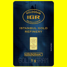 NEW sealed ISTANBUL GOLD REFINERY 1 gram 24K GOLD BULLION BAR Assay IGR 999.9