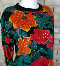 Shenanigans Womens Shirt Sz M Orange Green Floral Sequins Long Sleeve Cotton