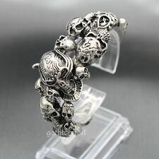 Mens Heavy Stainless Steel Gothic Skull Biker Bangle Cuff Bracelet Silver Black