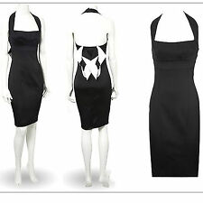 KAREN MILLEN Black Satin Ivory Bow Halterneck Cocktail Wedding Pencil Dress 12
