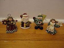 Christmas Ornaments Resin Clay Angels Santa Snowman Gift Lot of 4