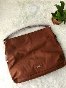 NWT Jewell by Thirty One Fashion Games Large Cognac Woods Pebble Hobo Tote Purse