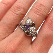 925 Sterling Silver Real Amethyst Gem Grape & Leaf Design Ring Size 9 3/4