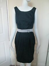 ATMOSPHERE - BLUE,DENIM EFFECT FITTED SLEEVELESS MINI DRESS SIZE 8, COTTON BLEND