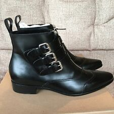 Tabitha Simmons Early Black Leather Calf Ankle Buckle Boots Booties 37.5 $1195