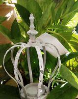 Corona Soporte de Vela Blanco Decoración Té Shabby Vintage Casa Campo 13x18cm