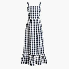 J. Crew L2397 NWT XS SOLD-OUT Fun Navy/ White Gingham Check Tiered Maxi Dress A2