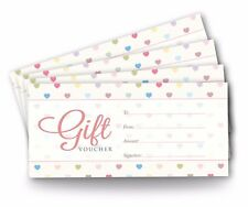 12 x Blank Gift Voucher Certificates, DL Size, Pastel Hearts for Personal Use