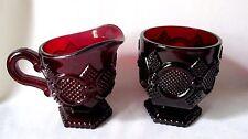 "Vintage Avon 1876 Cape Cod Ruby Red Glass Sugar Bowl 3.35"" Creamer 4"""