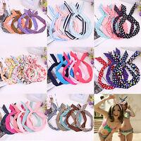 New Women/Girls Bow Rabbit Bunny Ear Ribbon Hair Band Wire Headband Wrap Gift