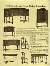 1937 PAPER AD Early English William & Mary Period Dining Room Furniture Suite