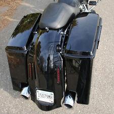 "Vivid Black 5"" Extended Hard Saddlebags Trunk For Harley Touring Road King 96-13"