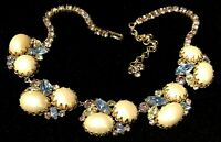 "Rare Vintage 16"" Juliana D&E Goldtone Pearl Rhinestone Statement Necklace A28"