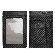 Black Carbon Fiber Luxury Cards Holder Wallet with Magnet Money Clip, RFID Block