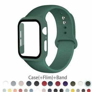 Silicone Sport Band Strap +Case Screen Protector For iWatch Series 6 5 4 3 2 SE