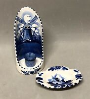 Delft Blue #29  Windmill Wall Sconce Taper Candle Holder & Small Ashtray Holland