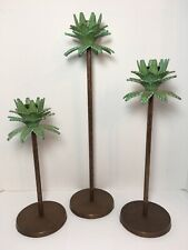 "3 Brass Bronze Toned Metal Palm Tree Candle Holders Graduated 10.5""-16.25"""