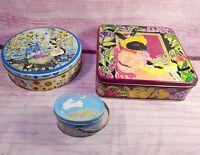 Vintage Bunny Rabbit Tins Garden Easter Russ Berrie Tea Brunch Dept 56 Set of 3