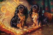Cavalier King Charles Spaniel Dogs 1905 Painting 8 Large New Blank Note Cards