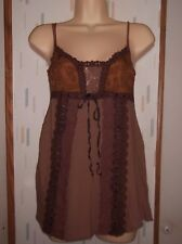 Ann Ferriday One Size  Brown Boho Lacy Camisole Tunic Knit Top Blouse