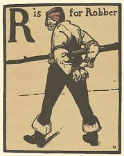 William Nicholson Woodcut Print 1898 R is for Robber Alphabet Lithograph 1975