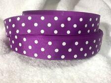 purple spots 23mm grosgrain ribbon 3 meter length bows craft scrapbooking
