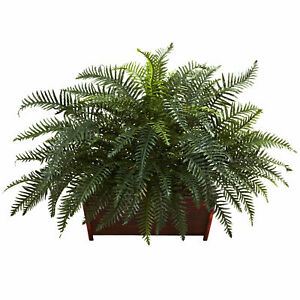River Fern W/Wood Planter Full Bloom Realistic Nearly Natural Home Office Decor