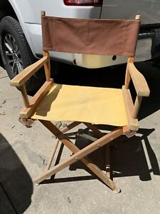 Vintage Folding Directors Chair Canvas Wooden Frame Captains Chair Yellow Canvas