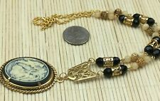 Vintage Inspired Necklace Cameo Black Cream Courting Couple Goldtone Rope Bezel