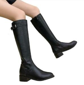 Womens Casual Round Toe Low Heels Western Cowboy Knee High Boots Combat Shoes