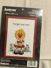 "Vintage Suzy's Zoo "" Forget me not ! "" 5x7 Counted Cross Stitch Kit frameNEW NIB"