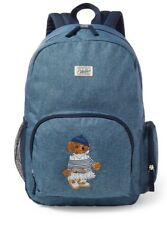 NWT Authentic Ralph Lauren Polo Bear Chambray Campus Navy Blue Backpack, Bag