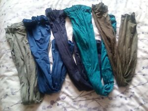 BUNDLE 5 PAIRS OF COLOURED OPAQUE TIGHTS 12 14 MEDIUM blues greens