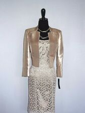NEW $$$ TAHARI 2PC DRESS JACKET SUIT 4 CHAMPAGNE GOLD LACE EMBROIDERED CHIC!