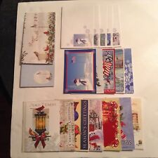 Lot of 18 Assorted Christmas Greeting Cards, Holiday Song Book, Stickers & Pad