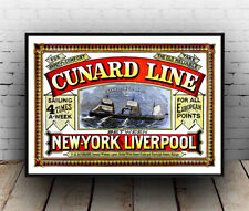 Cunard Line New York - Liverpool, Vintage  advertising Poster reproduction.