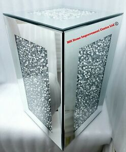 Sparkly Diamond Crush Crystal Square Mirrored End Table Decorative Display Stand