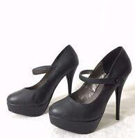 New Women Platform Stilettos Pump Mary Jane High Heel Shoes ~ Black