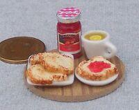 1:12 Scale Dolls House Miniature Handmade Breakfast Toast Bread & Jam On A Board